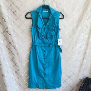 Calvin Klein Button Down Sleeveless Ruffle dress